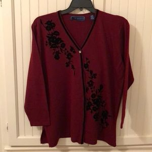 Maroon cardigan with cut velvet accents